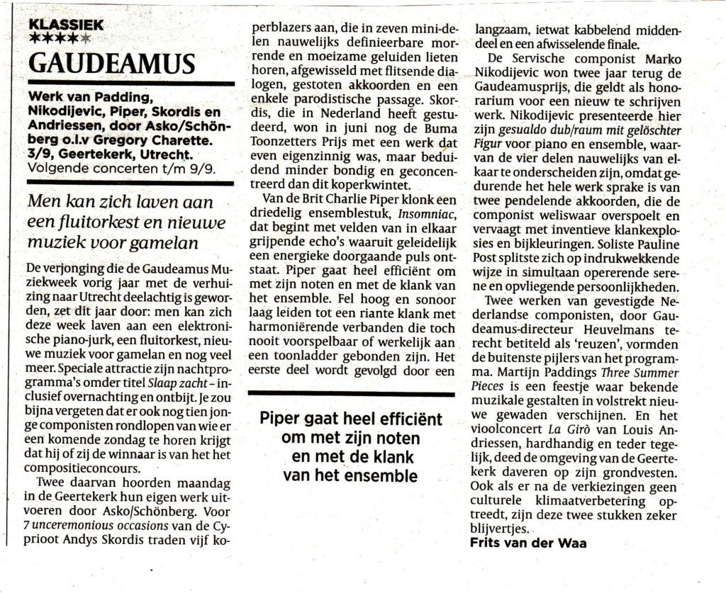 Volkskrant Gaudeamus 2012